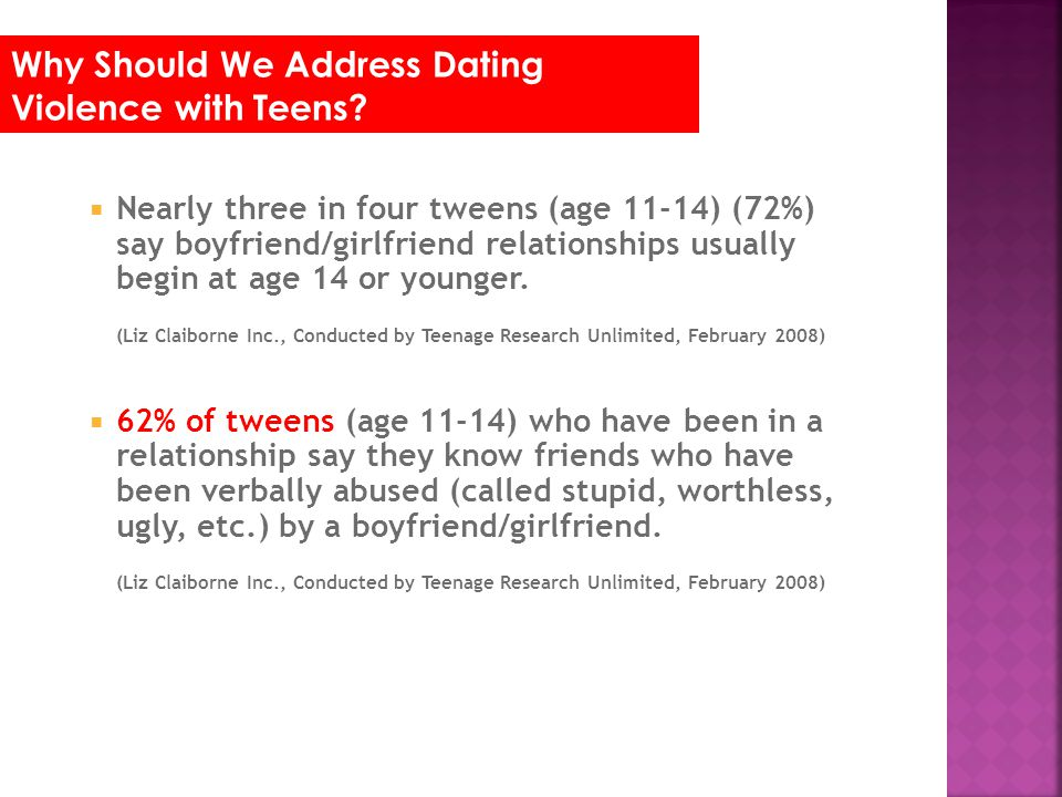 Nearly three in four tweens (age 11-14) (72%) say boyfriend/girlfriend relationships usually begin at age 14 or younger. (Liz Claiborne Inc., Conducte