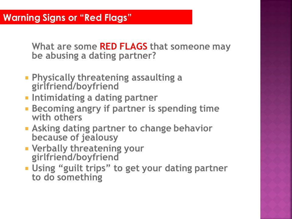 Train staff to recognize signs of dating abuse and intervene appropriately.