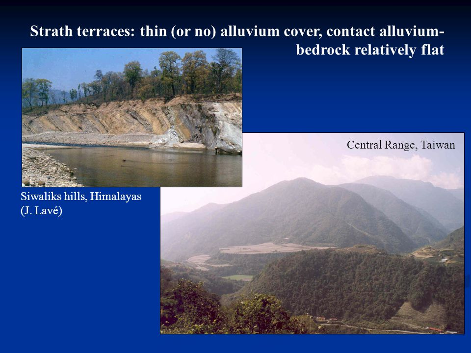 Strath terraces: thin (or no) alluvium cover, contact alluvium- bedrock relatively flat Siwaliks hills, Himalayas (J. Lavé) Central Range, Taiwan