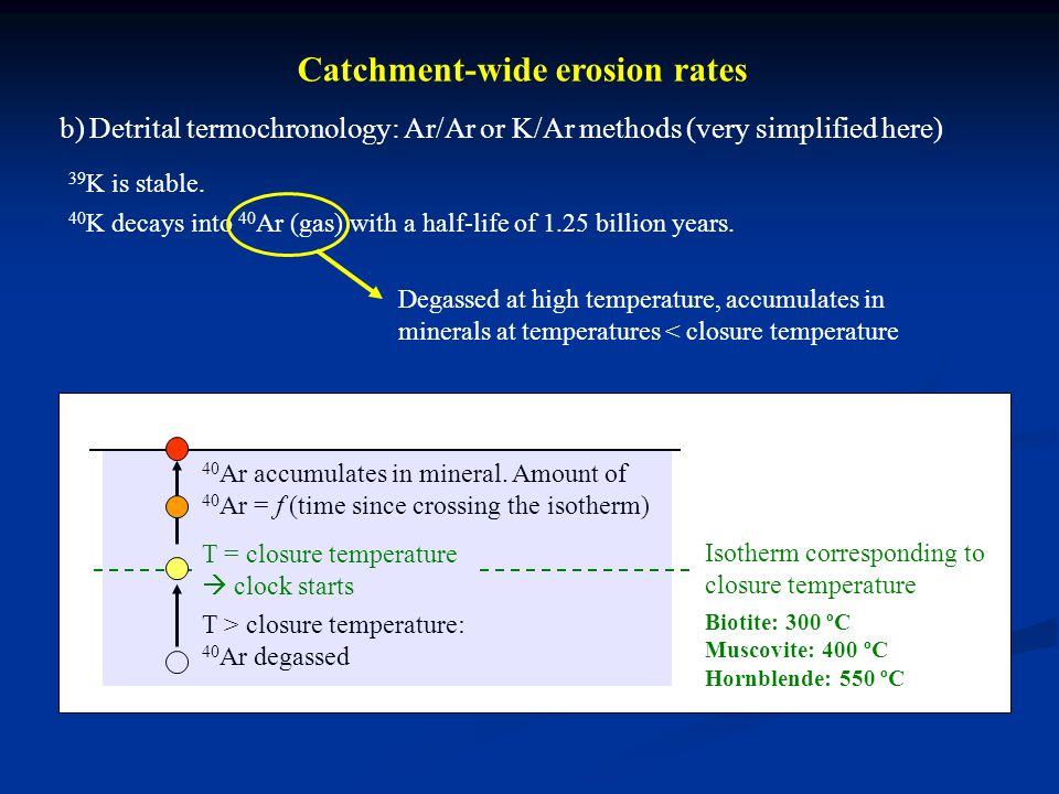 Catchment-wide erosion rates b) Detrital termochronology: Ar/Ar or K/Ar methods (very simplified here) 39 K is stable. 40 K decays into 40 Ar (gas) wi