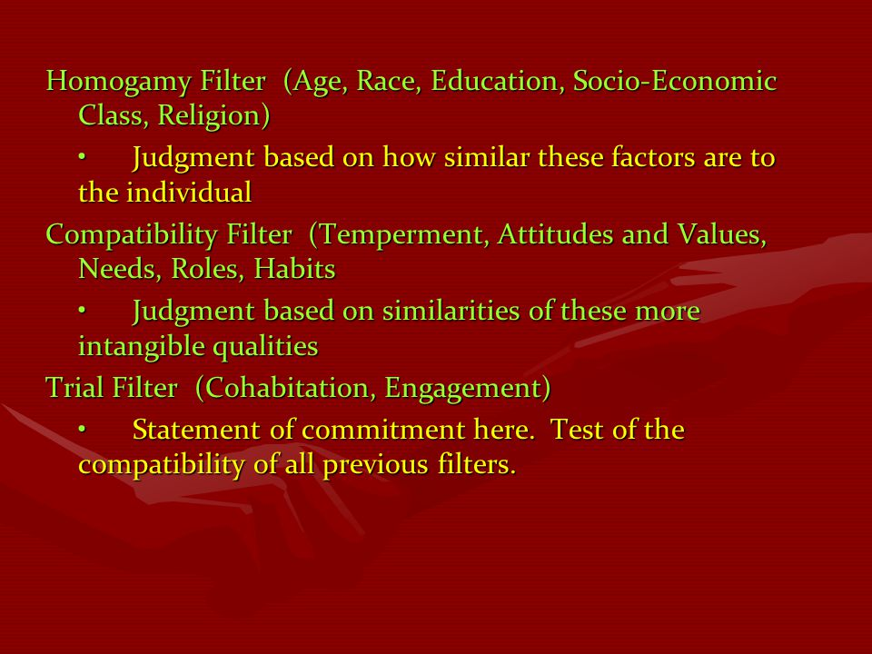 Homogamy Filter (Age, Race, Education, Socio-Economic Class, Religion) Judgment based on how similar these factors are to the individualJudgment based