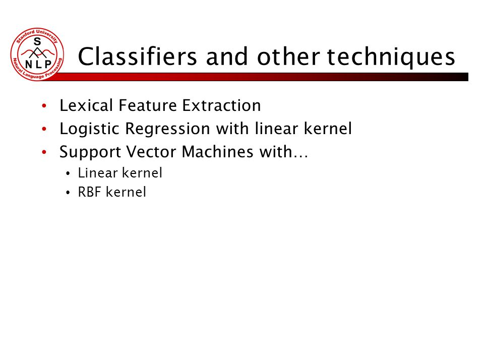 Classifiers and other techniques Lexical Feature Extraction Logistic Regression with linear kernel Support Vector Machines with… Linear kernel RBF kernel