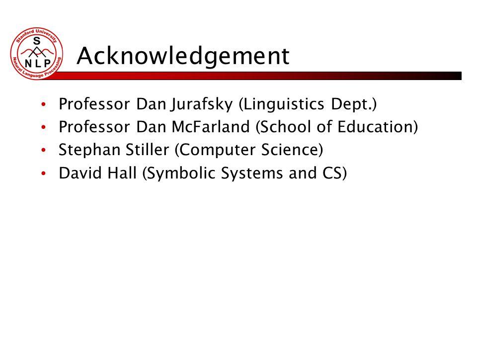 Acknowledgement Professor Dan Jurafsky (Linguistics Dept.) Professor Dan McFarland (School of Education) Stephan Stiller (Computer Science) David Hall (Symbolic Systems and CS)
