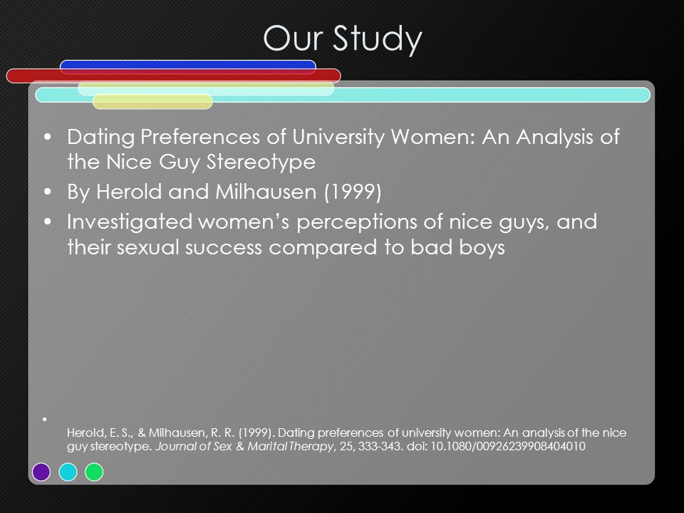 Our Study Dating Preferences of University Women: An Analysis of the Nice Guy Stereotype By Herold and Milhausen (1999) Investigated womens perception