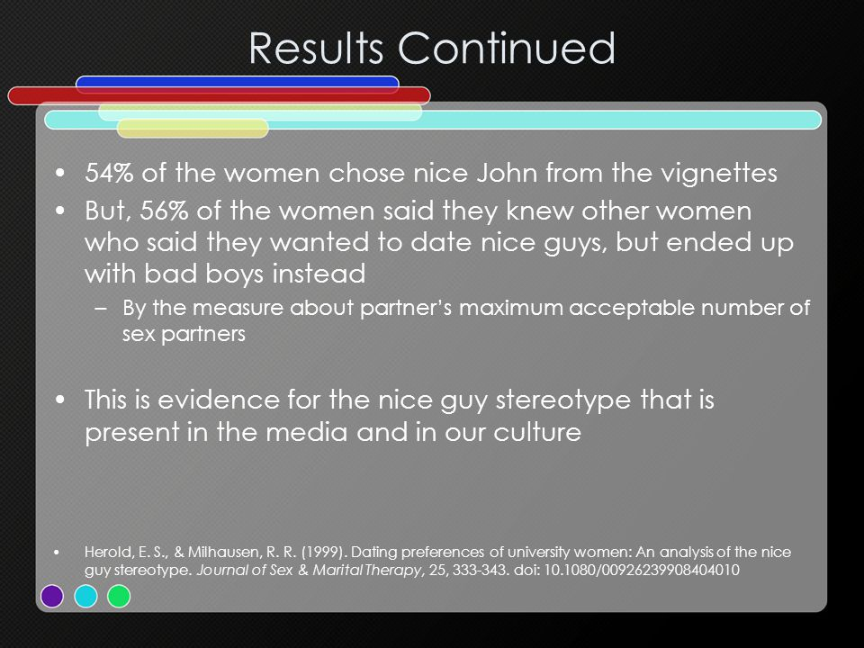 Results Continued 54% of the women chose nice John from the vignettes But, 56% of the women said they knew other women who said they wanted to date ni