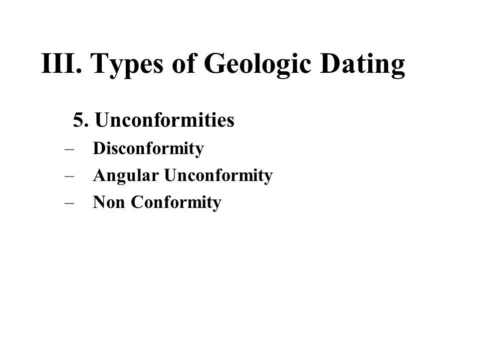 III. Types of Geologic Dating 5. Unconformities –Disconformity –Angular Unconformity –Non Conformity