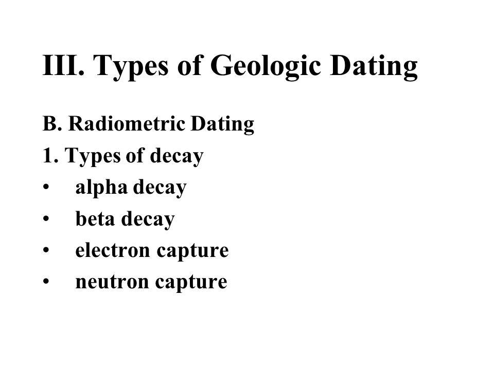 III. Types of Geologic Dating B. Radiometric Dating 1. Types of decay alpha decay beta decay electron capture neutron capture