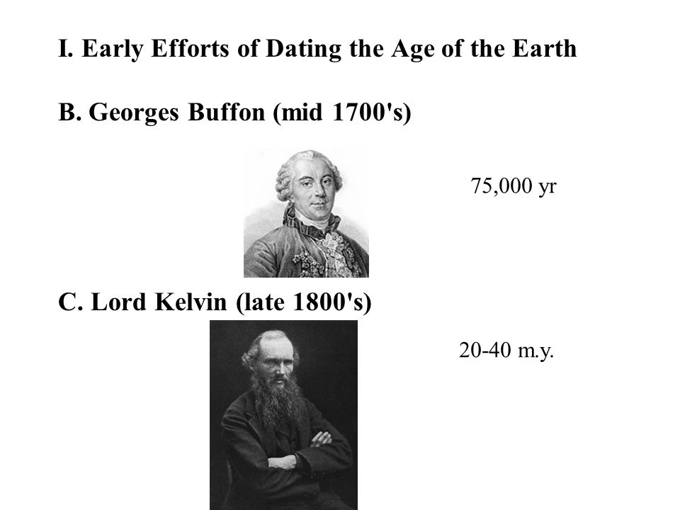 I. Early Efforts of Dating the Age of the Earth D. Charles Walcott (1893) 75 m.y.