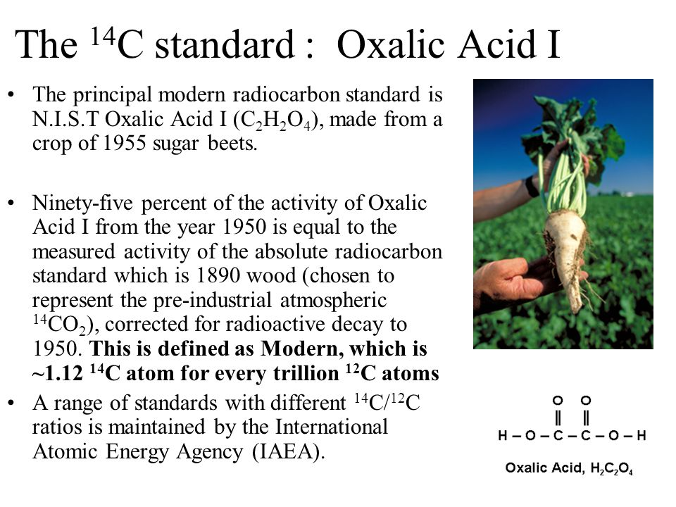 The 14 C standard : Oxalic Acid I The principal modern radiocarbon standard is N.I.S.T Oxalic Acid I (C 2 H 2 O 4 ), made from a crop of 1955 sugar beets.