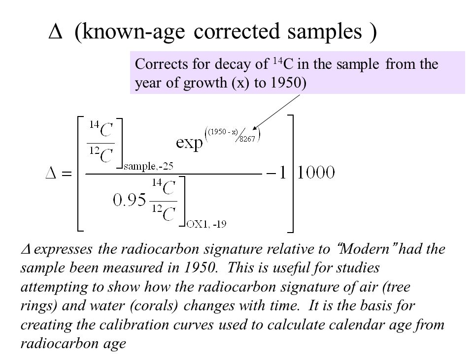 known-age corrected samples ) expresses the radiocarbon signature relative to Modern had the sample been measured in 1950.