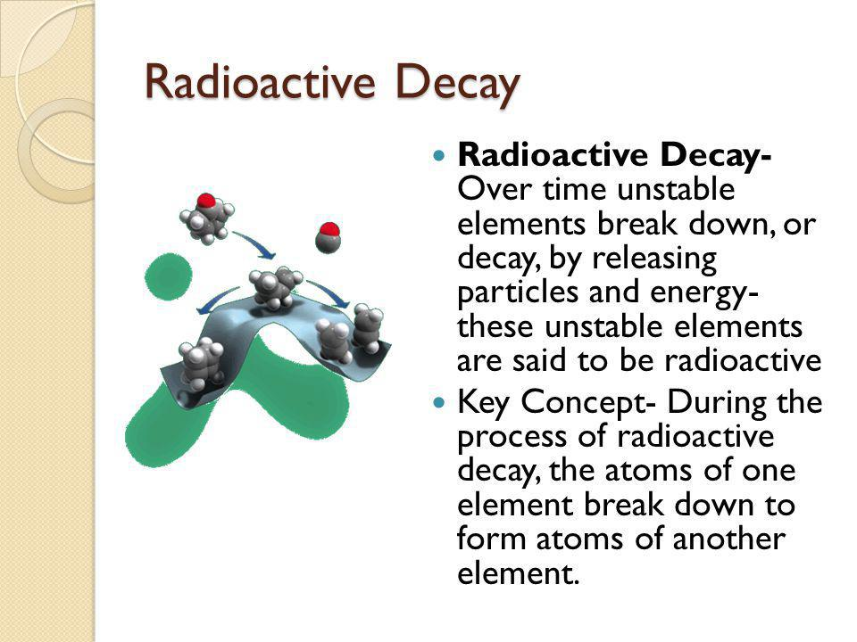 Radioactive Decay During radioactive decay, a parent atom releases energy and particles as it changes to a new kind of atom, a daughter atom.
