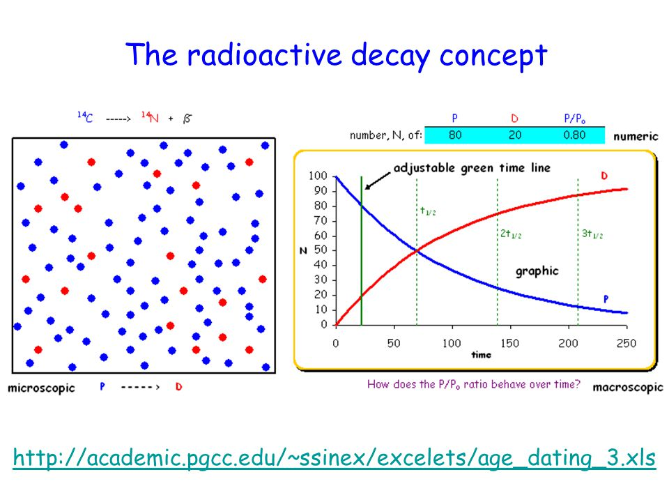 http://academic.pgcc.edu/~ssinex/excelets/age_dating_3.xls The radioactive decay concept