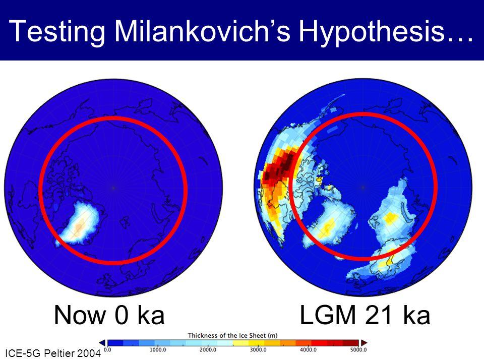 Testing Milankovichs Hypothesis… LGM 21 kaNow 0 ka ICE-5G Peltier 2004