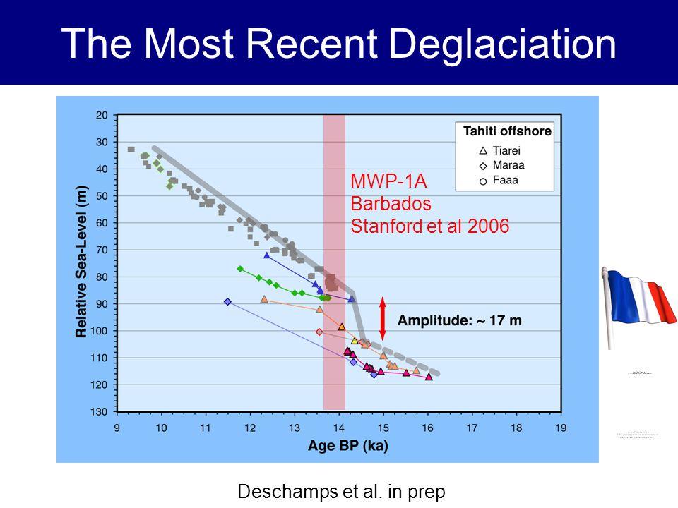 The Most Recent Deglaciation IODP EXP325 GBREC Deschamps et al. in prep MWP-1A Barbados Stanford et al 2006