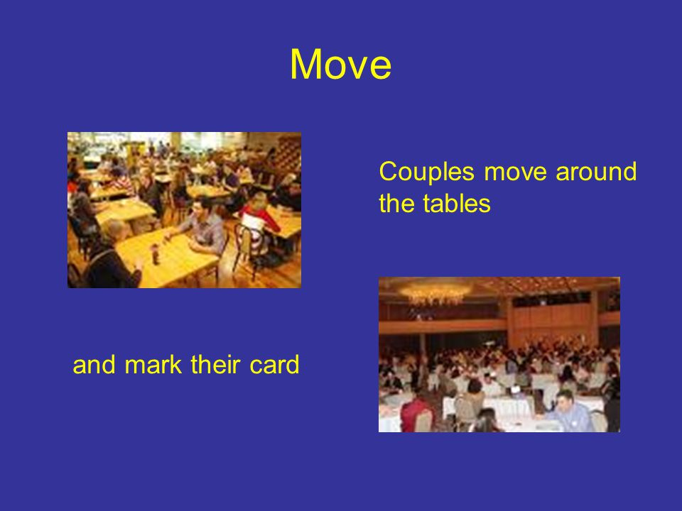 Move Couples move around the tables and mark their card