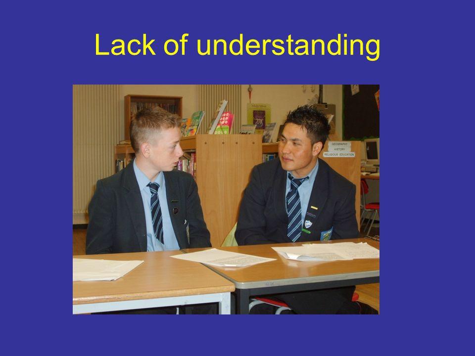 Lack of understanding
