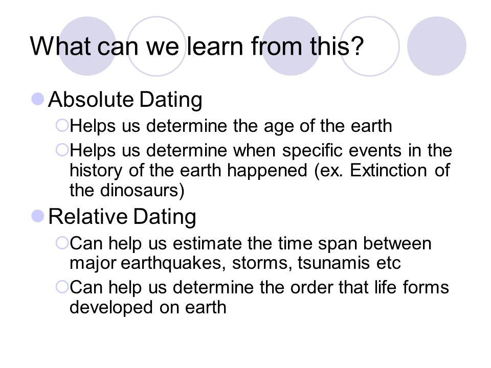 What can we learn from this? Absolute Dating Helps us determine the age of the earth Helps us determine when specific events in the history of the ear