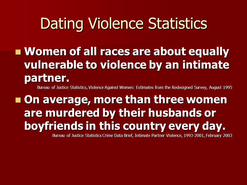 Dating Violence Statistics One in three high school students have been or will be involved in an abusive relationship.