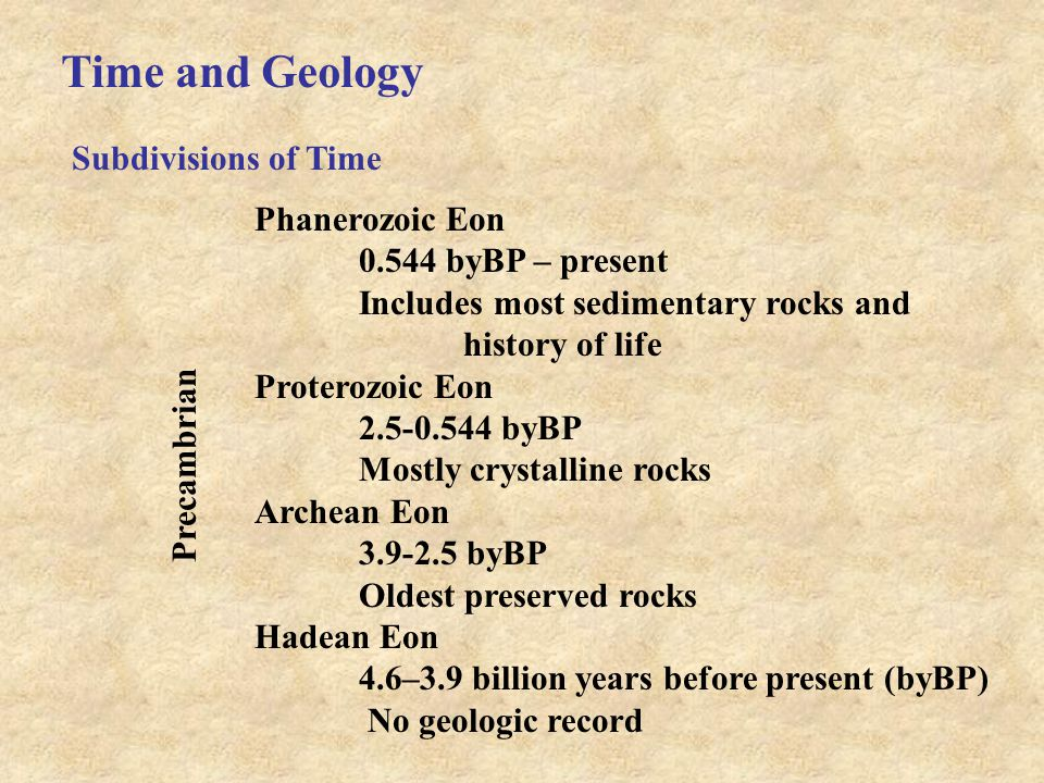 Time and Geology Subdivisions of Time Phanerozoic Eon 0.544 byBP – present Includes most sedimentary rocks and history of life Proterozoic Eon 2.5-0.544 byBP Mostly crystalline rocks Archean Eon 3.9-2.5 byBP Oldest preserved rocks Hadean Eon 4.6–3.9 billion years before present (byBP) No geologic record Precambrian