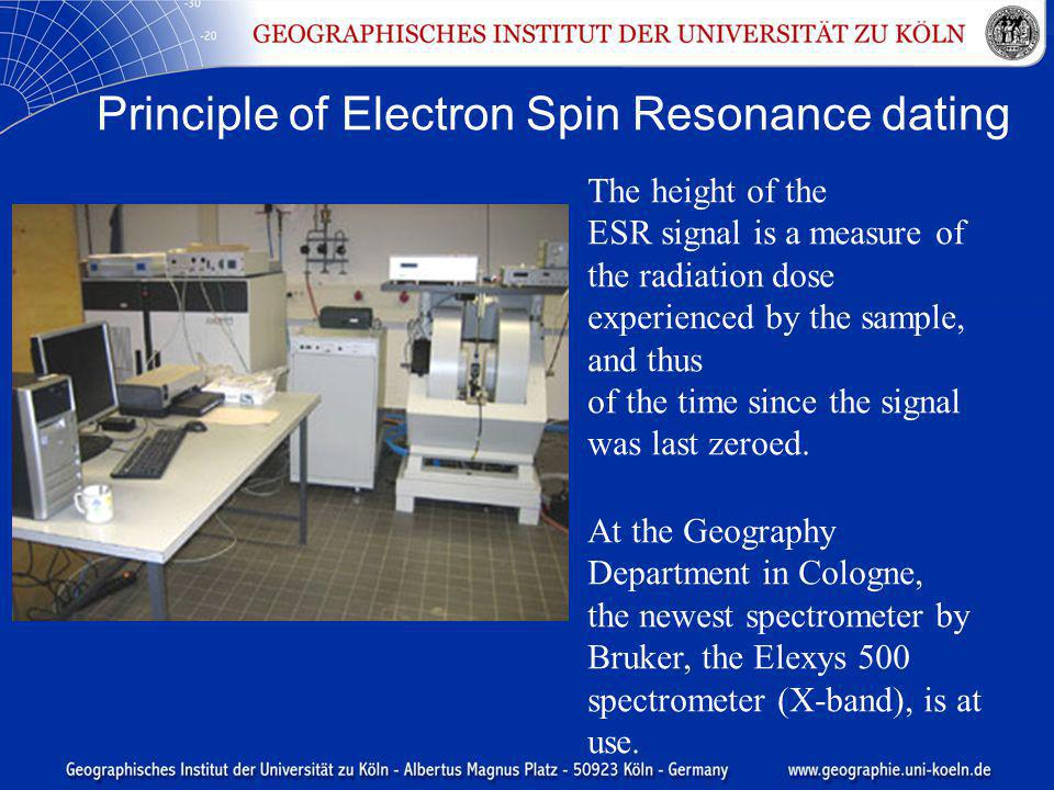 Principle of Electron Spin Resonance dating At the Geography Department in Cologne, the newest spectrometer by Bruker, the Elexys 500 spectrometer (X-band), is at use.