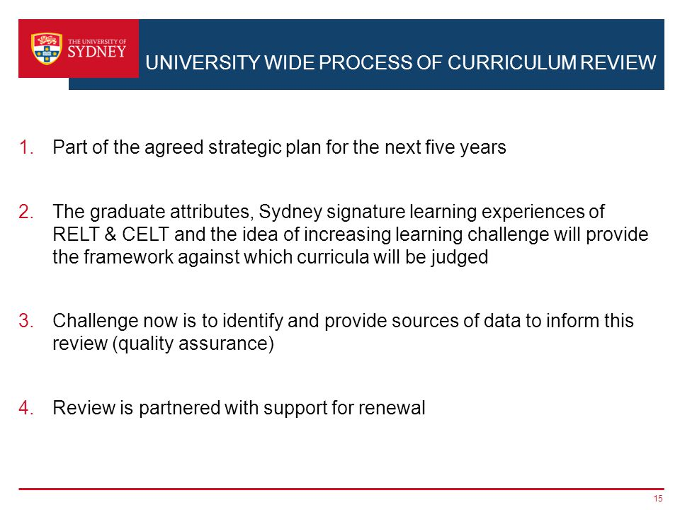 UNIVERSITY WIDE PROCESS OF CURRICULUM REVIEW 1.Part of the agreed strategic plan for the next five years 2.The graduate attributes, Sydney signature l