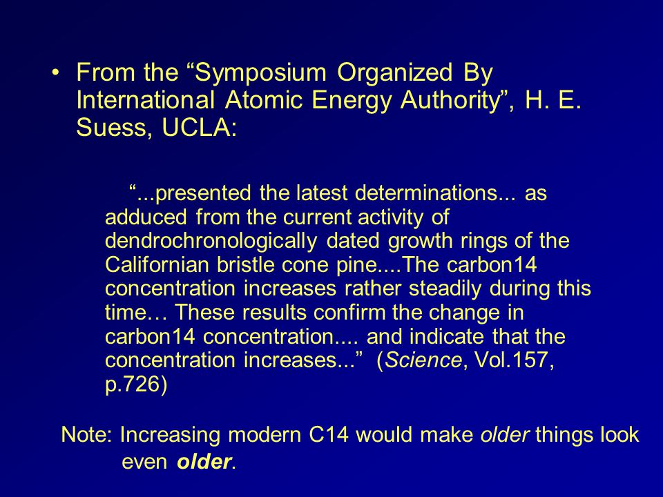 From the Symposium Organized By International Atomic Energy Authority, H. E. Suess, UCLA:...presented the latest determinations... as adduced from the