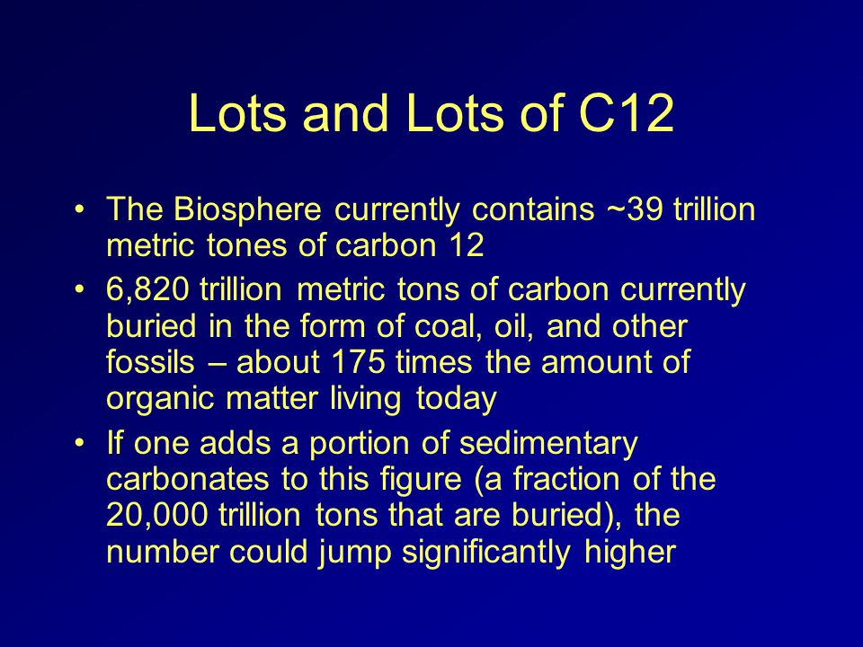 Lots and Lots of C12 The Biosphere currently contains ~39 trillion metric tones of carbon 12 6,820 trillion metric tons of carbon currently buried in the form of coal, oil, and other fossils – about 175 times the amount of organic matter living today If one adds a portion of sedimentary carbonates to this figure (a fraction of the 20,000 trillion tons that are buried), the number could jump significantly higher