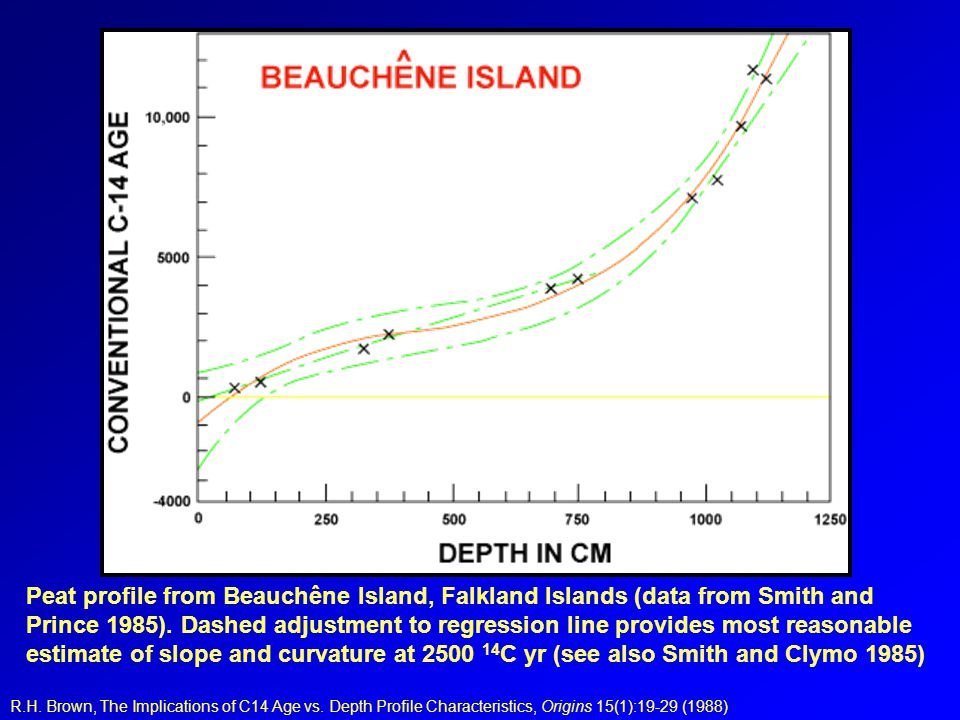 Peat profile from Beauchêne Island, Falkland Islands (data from Smith and Prince 1985). Dashed adjustment to regression line provides most reasonable