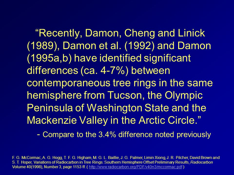 Recently, Damon, Cheng and Linick (1989), Damon et al. (1992) and Damon (1995a,b) have identified significant differences (ca. 4-7%) between contempor
