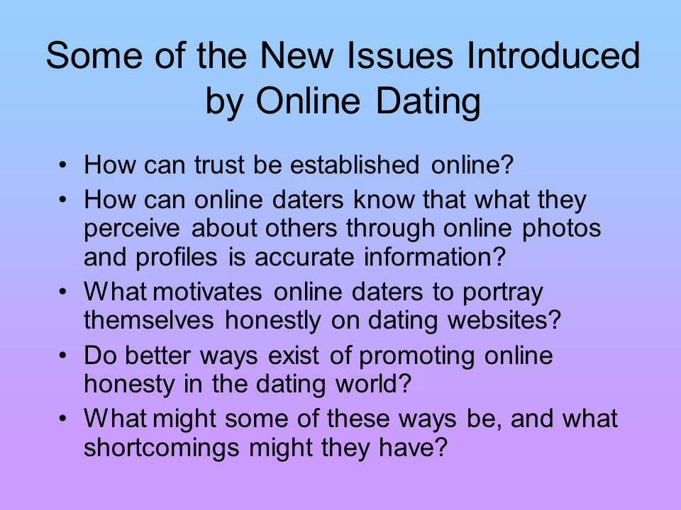 Evaluating Honesty Online No way to ascertain that a person has been honest online simply by viewing his profile Very easy to lie about personal facts (age, height, weight), post misleading photos and write deceptive essays Nearly everything that one says about oneself is a conventional signal The only assessment signal that can be demonstrated on an online dating site is the amount of effort that one has put into his profile