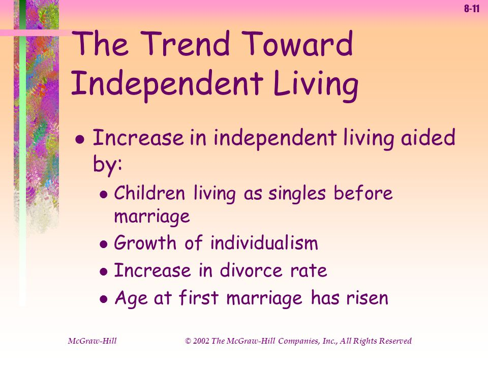 8-11 McGraw-Hill © 2002 The McGraw-Hill Companies, Inc., All Rights Reserved The Trend Toward Independent Living l Increase in independent living aided by: l Children living as singles before marriage l Growth of individualism l Increase in divorce rate l Age at first marriage has risen