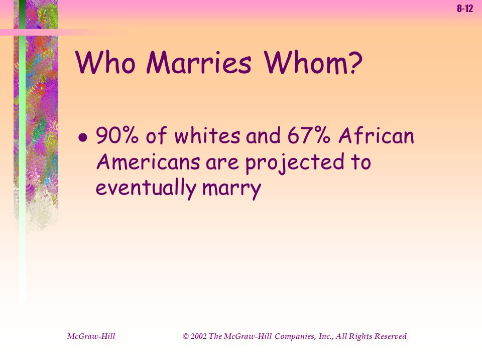 8-12 McGraw-Hill © 2002 The McGraw-Hill Companies, Inc., All Rights Reserved l 90% of whites and 67% African Americans are projected to eventually marry Who Marries Whom?