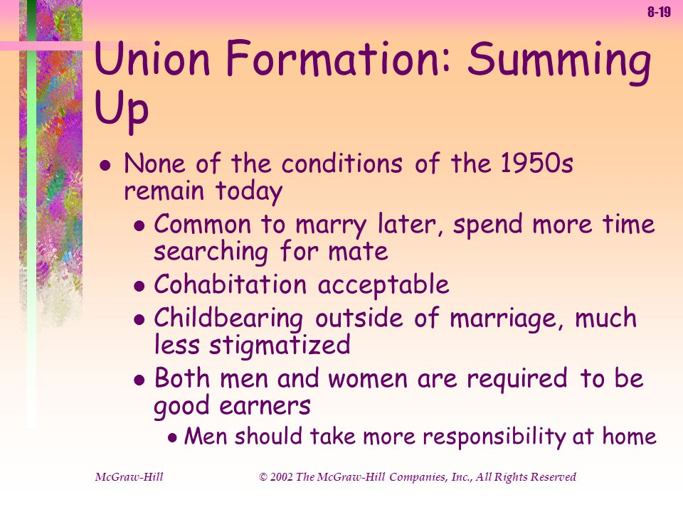 8-19 McGraw-Hill © 2002 The McGraw-Hill Companies, Inc., All Rights Reserved Union Formation: Summing Up l None of the conditions of the 1950s remain