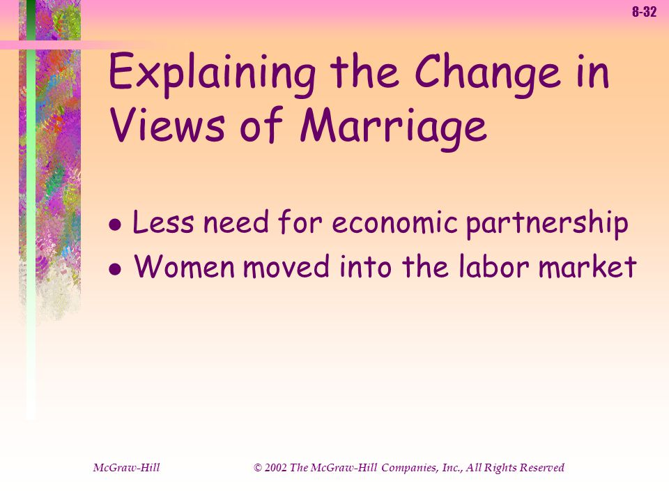 8-32 McGraw-Hill © 2002 The McGraw-Hill Companies, Inc., All Rights Reserved l Less need for economic partnership l Women moved into the labor market