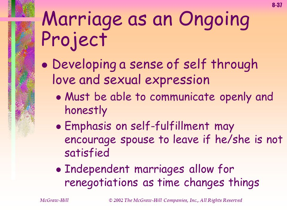 8-37 McGraw-Hill © 2002 The McGraw-Hill Companies, Inc., All Rights Reserved Marriage as an Ongoing Project l Developing a sense of self through love and sexual expression l Must be able to communicate openly and honestly l Emphasis on self-fulfillment may encourage spouse to leave if he/she is not satisfied l Independent marriages allow for renegotiations as time changes things