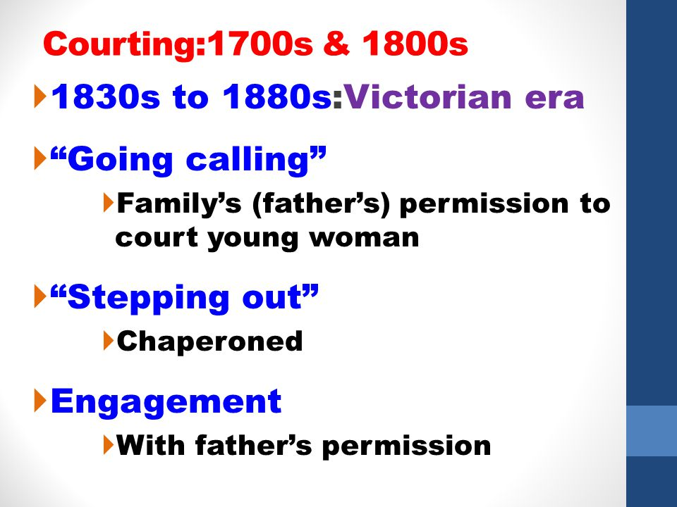 Courting:1700s & 1800s 1830s to 1880s:Victorian era Going calling Familys (fathers) permission to court young woman Stepping out Chaperoned Engagement
