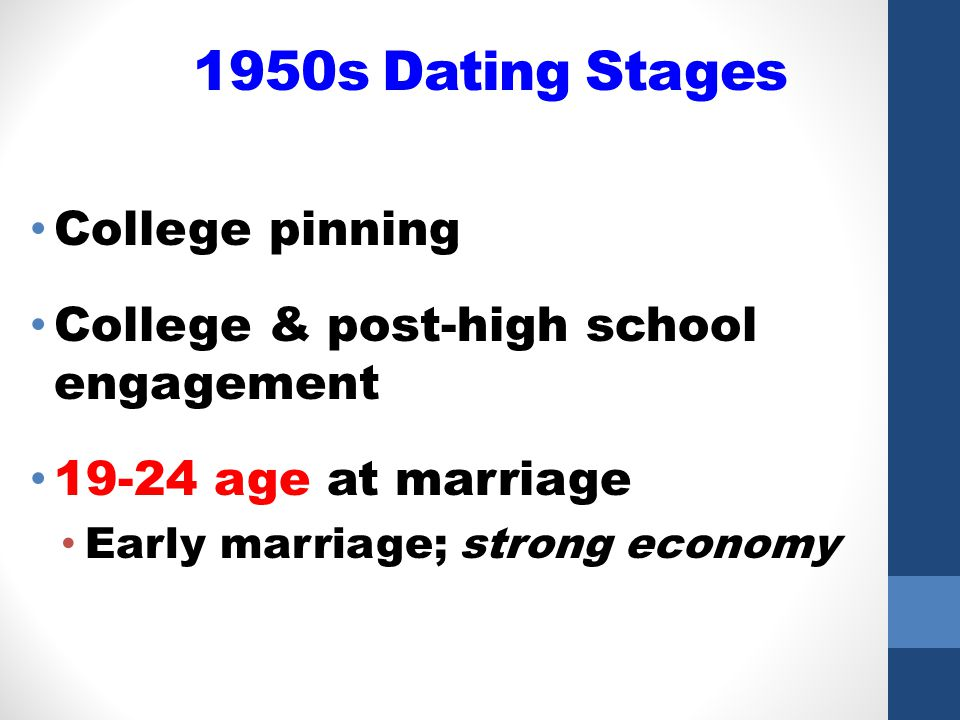 1950s Dating Stages College pinning College & post-high school engagement 19-24 age at marriage Early marriage; strong economy