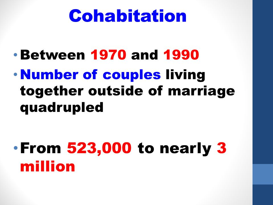 24 Dating1960s & 1970s Less connected to marriage Trend toward independent living Average marriage age increased Rise in premarital intercourse Cohabitation became common