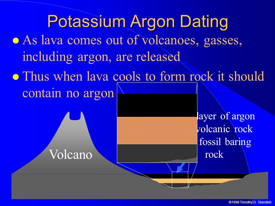 ©1998 Timothy G. Standish Potassium Argon Dating As lava comes out of volcanoes, gasses, including argon, are released Thus when lava cools to form ro