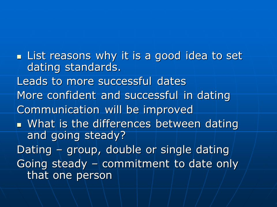 List reasons why it is a good idea to set dating standards. List reasons why it is a good idea to set dating standards. Leads to more successful dates