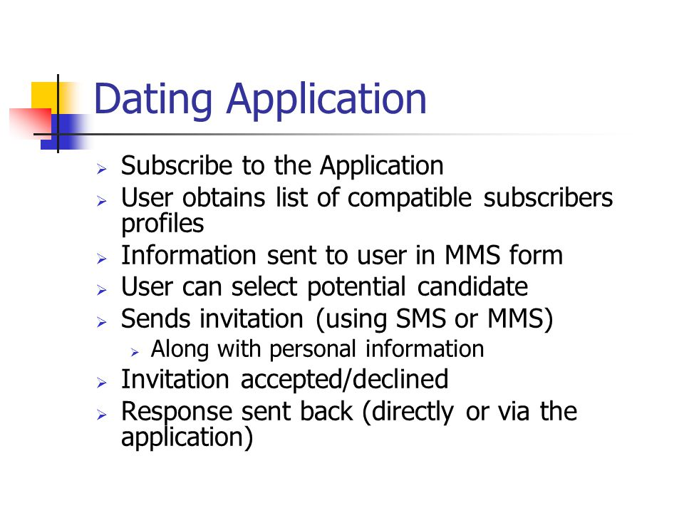 Dating Application Subscribe to the Application User obtains list of compatible subscribers profiles Information sent to user in MMS form User can sel