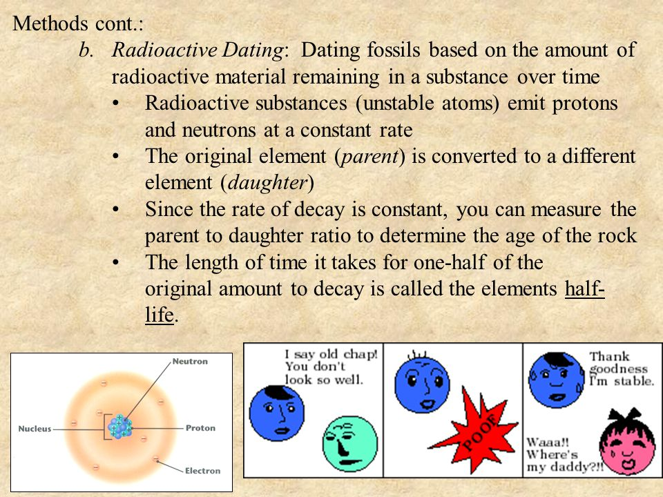 Methods cont.: b.Radioactive Dating: Dating fossils based on the amount of radioactive material remaining in a substance over time Radioactive substances (unstable atoms) emit protons and neutrons at a constant rate The original element (parent) is converted to a different element (daughter) Since the rate of decay is constant, you can measure the parent to daughter ratio to determine the age of the rock The length of time it takes for one-half of the original amount to decay is called the elements half- life.