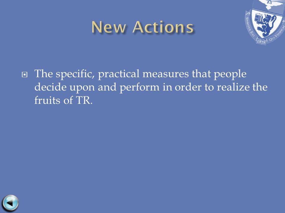 The specific, practical measures that people decide upon and perform in order to realize the fruits of TR.