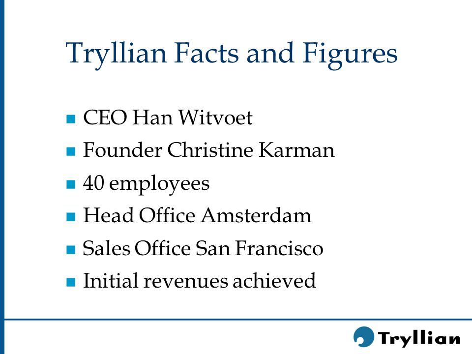 Tryllian Facts and Figures n CEO Han Witvoet n Founder Christine Karman n 40 employees n Head Office Amsterdam n Sales Office San Francisco n Initial revenues achieved