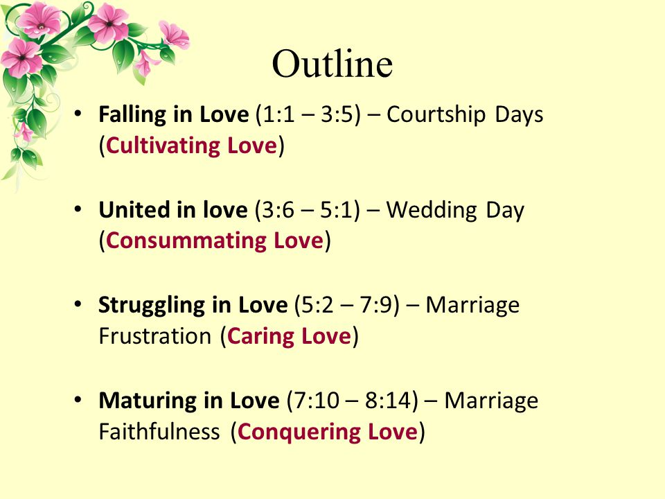 Outline Falling in Love (1:1 – 3:5) – Courtship Days (Cultivating Love) United in love (3:6 – 5:1) – Wedding Day (Consummating Love) Struggling in Love (5:2 – 7:9) – Marriage Frustration (Caring Love) Maturing in Love (7:10 – 8:14) – Marriage Faithfulness (Conquering Love)