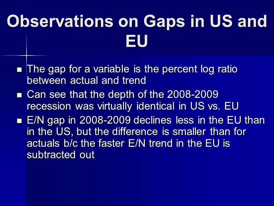Observations on Gaps in US and EU The gap for a variable is the percent log ratio between actual and trend The gap for a variable is the percent log ratio between actual and trend Can see that the depth of the 2008-2009 recession was virtually identical in US vs.