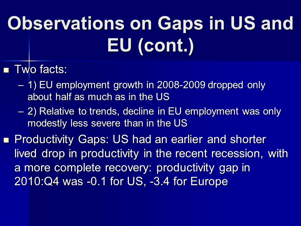 Observations on Gaps in US and EU (cont.) Two facts: Two facts: –1) EU employment growth in 2008-2009 dropped only about half as much as in the US –2) Relative to trends, decline in EU employment was only modestly less severe than in the US Productivity Gaps: US had an earlier and shorter lived drop in productivity in the recent recession, with a more complete recovery: productivity gap in 2010:Q4 was -0.1 for US, -3.4 for Europe Productivity Gaps: US had an earlier and shorter lived drop in productivity in the recent recession, with a more complete recovery: productivity gap in 2010:Q4 was -0.1 for US, -3.4 for Europe