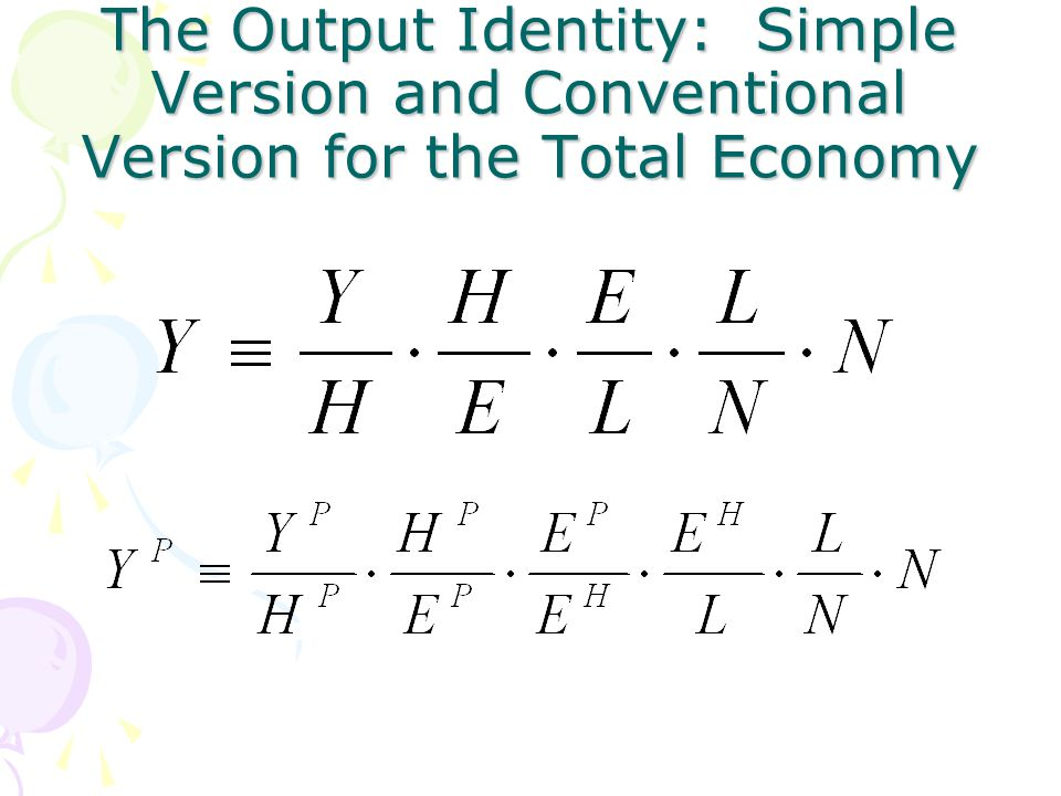 The Output Identity: Simple Version and Conventional Version for the Total Economy