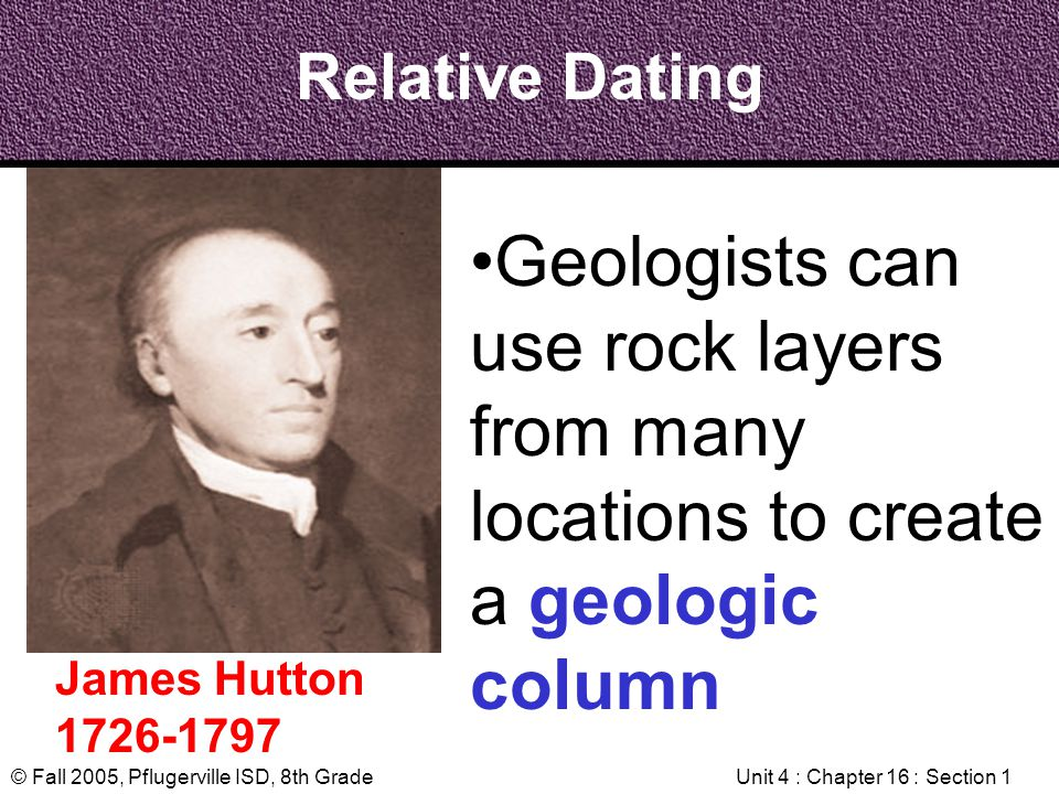 © Fall 2005, Pflugerville ISD, 8th GradeUnit 4 : Chapter 16 : Section 1 Relative Dating James Hutton 1726-1797 Geologists can use rock layers from man