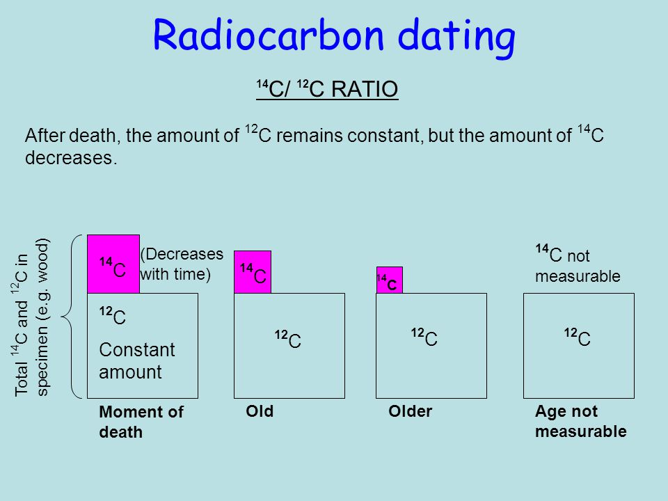 Radiocarbon dating 14 C/ 12 C RATIO 14 C 12 C Constant amount (Decreases with time) 14 C not measurable Total 14 C and 12 C in specimen (e.g.